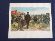 保真文革宣传画--6开宣传画  油画 --走向胜利     纸张较厚    规格38x32