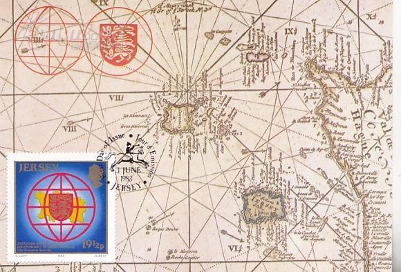【外国地图邮品  泽西岛1983年邮票308亲法国议员国际联盟全体会议极限片】