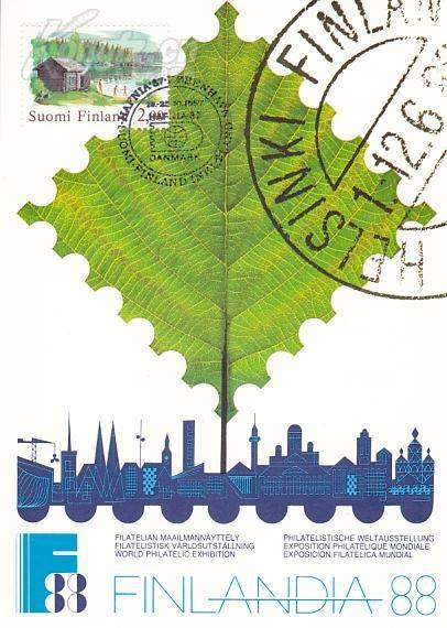 【外国邮品  芬兰1987年邮票国际邮展风景 极限片 】