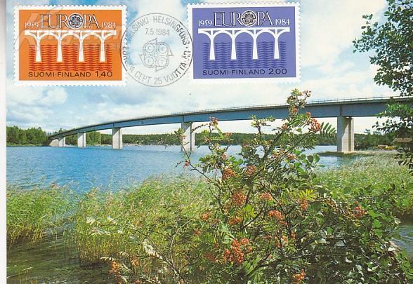 【外国邮品   芬兰1984年邮票 欧罗巴 欧洲之桥 极限片】