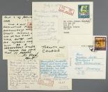 """七八十年代 """"万里长城""""、""""中山公园唐花坞""""等风光 航空外文实寄明信片四枚 (贴""""珠穆朗玛峰""""、""""青铜提梁卣""""等邮票六枚;销北京、四川邮戳) HXTX301728"""