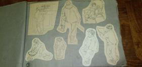 七十年代画家郭予群白描画稿一大厚册存五十多张