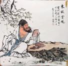 S 四尺人物禅意斗方 东坡赏砚 68x68