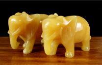 天然米黄玉吉祥如意大象摆件