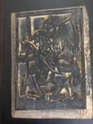 清代《云南保山甲马木雕板--骑马举旗》