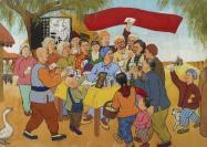 画家 高国刚 画稿 《支援志愿军 保卫好光景》一张 带木框(尺寸:40*52cm)HXTX302477