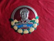 精品毛主席像章《庆祝九大胜利召开》1969年,1梅,园形,重庆第二钢厂,长16cm16cm,包老包真