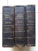 孤本,古籍 《圣经 》3卷全,无数版画插图,3面刷金,1836-1838年伦敦出版,26X18cm