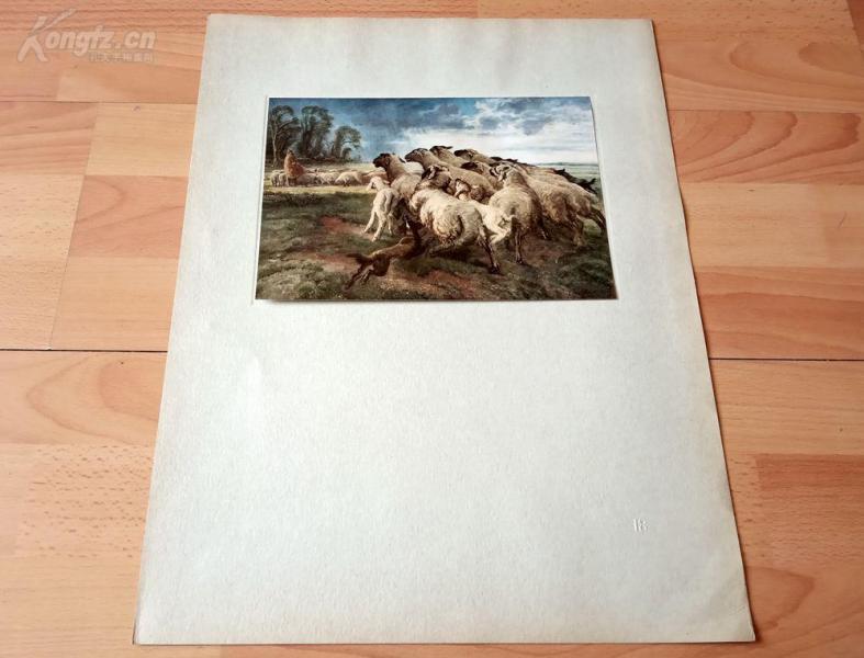 20世纪初彩色印刷《杜塞尔多夫艺术学院油画作品选集—暴风雨下的羊群》(Schafherde bei aufziehendem Gewitter)-- 后背纸尺寸45*34.5厘米