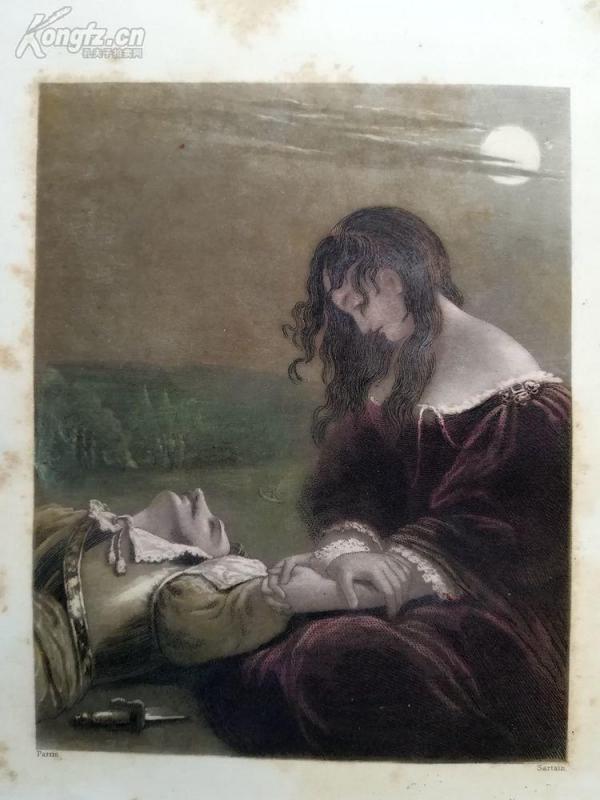 1851年美柔汀铜版画《阵亡的战士》(the dead soldier)---手工上色---20*14厘米--够美,够柔,够精