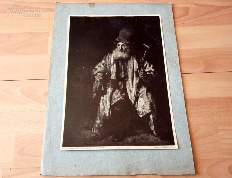 20世纪初照相版《一个带红色帽子的老人》(DER ALTE MIT DER ROTEN MüTZE)—荷兰历史上最伟大画家伦勃朗的作品—后背纸尺寸42.5*31.5厘米
