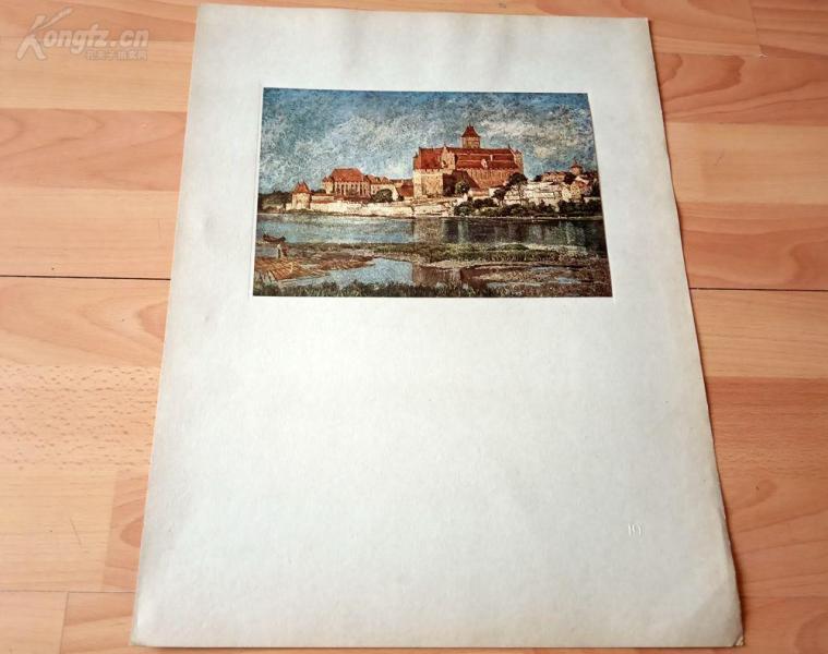 20世纪初彩色印刷《杜塞尔多夫艺术学院油画作品选集—美因河畔的玛利恩堡》(DIE Marienburg)-- 后背纸尺寸45*34.5厘米