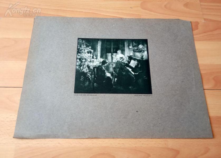 20世纪初彩色印刷《宁静的圣诞之夜》(STILLE NACHT, HEILIGE NACHT)-- 弗里茨·冯·乌德(1848-1911),德国印象派巨匠--- 后背纸尺寸42*31.2厘米