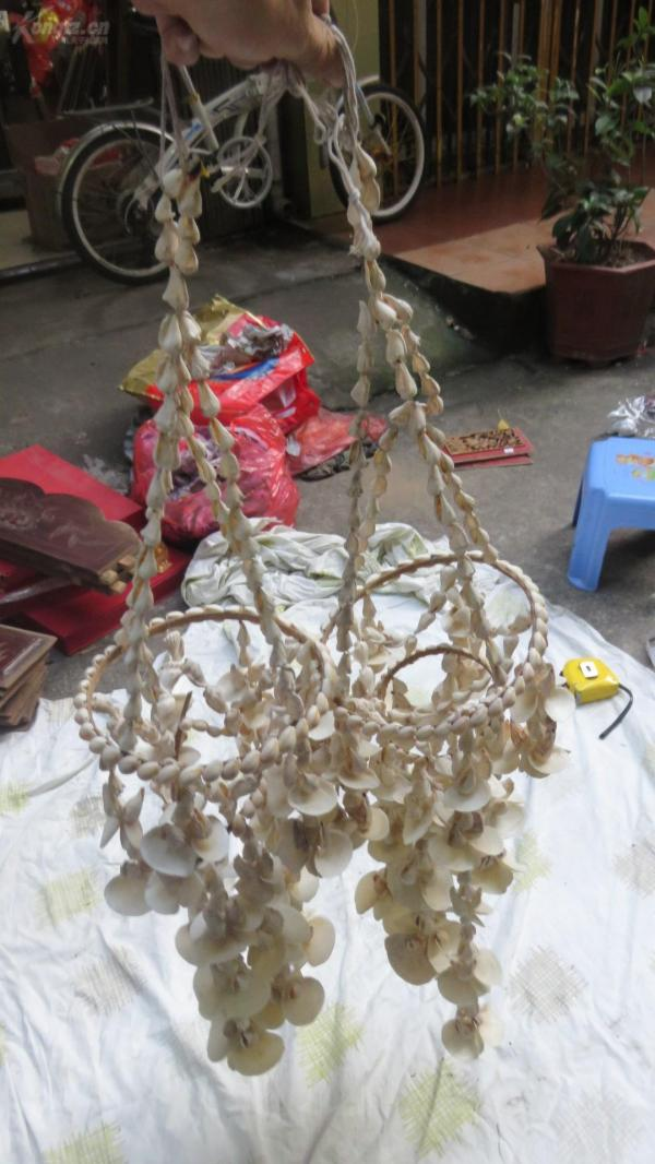 天然贝壳人工串成灯笼型挂件两串19091238