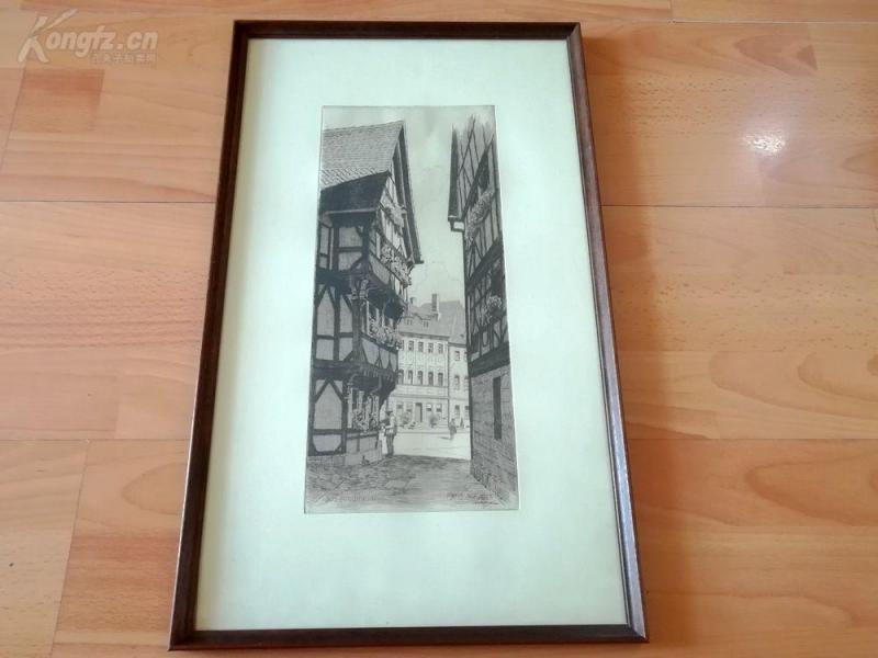 老蚀刻《中世纪小镇福希海姆,巴伐利亚》--原木老画框50.5*30.5厘米