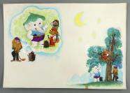 著名插图画家、图书设计家、曾任全国幼儿读物研究会秘书长 周宪彻手绘《节日的礼物》插图原稿 存一张(出版于1984年《节日的礼物》p40至41页,为束蕙作品《司令员的错误》所做插图)HXTX302856