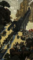 中国人民解放军铁道兵集体创作 套色版画作品《山寨喜讯》一幅(为铁道兵生活组画之一,曾参加过重要展览或者出版过,尺寸:92*52.5cm)HXTX302615