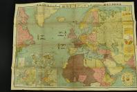 (乙4152)二战史料《最新欧洲大地图》一张 大尺寸 彩色地图单面 日本雄辩会讲谈社发行(日本右翼组织) 欧洲各国的面积比较、人口密度  列强国势国防一览 各国兵力、军舰数量等介绍 尺寸:106CM*76CM  1936年
