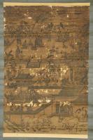 国外回流,老装裱,古代《木板印刷人物画》,有损