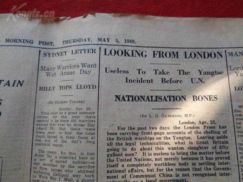 民国外文报纸,1949年5月,2开半张,品好如图。
