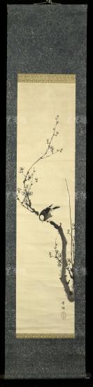 """【日本回流】原装旧裱 紫烟 水墨画""""梅花喜鹊图""""一幅(纸本立轴,画心约3.9平尺 ,钤印:紫烟)HXTX303068"""