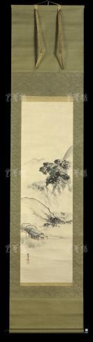 【日本回流】原装旧裱 楚南 水墨山水 一幅(纸本立轴,画心约2.8平尺,钤印:楚南)HXTX303049