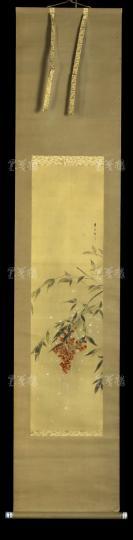 【日本回流】原装旧裱 春光 写意花卉 一幅(绢本立轴,画心约2.4平尺,钤印:春)HXTX303042