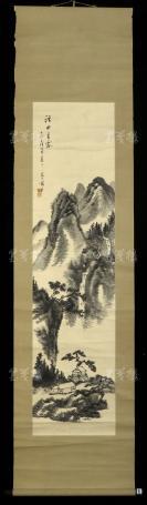 【日本回流】原装旧裱 草处 大正壬戌年 水墨山水《溪山春霁》一幅(纸本立轴,画心约3.9平尺 )HXTX303070