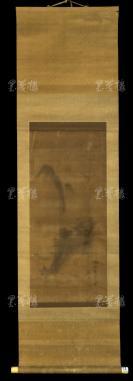 """【日本回流】原装旧裱 秋湖 水墨山水""""闲山落广图"""" 一幅(绢本立轴,画心约2.5平尺)HXTX303057"""