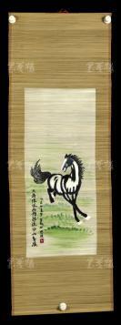 """【日本回流】竹帘刺绣 国画""""骏马图""""一幅(画心约2.5平尺)HXTX303041"""
