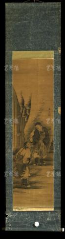 """【日本回流】原装旧裱 东溪 水墨人物画""""高士雅谈图""""一幅(纸本立轴,画心约3.2平尺,钤印:东溪)HXTX303048"""