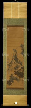 【日本回流】原装旧裱 兰溪 写意山水 一幅(纸本立轴,画心约2.8平尺,钤印:横山、兰溪)HXTX303044