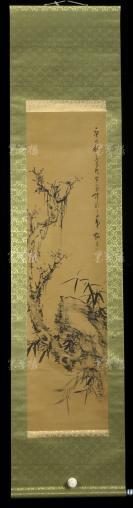 """【日本回流】梅友 庚戌年 水墨画""""松竹图""""一幅(纸本立轴,画心约3.1平尺 ,钤印:梅友)HXTX303067"""