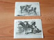 19世纪老蚀刻2张合拍《奶牛》--纸张尺寸14.7*10厘米