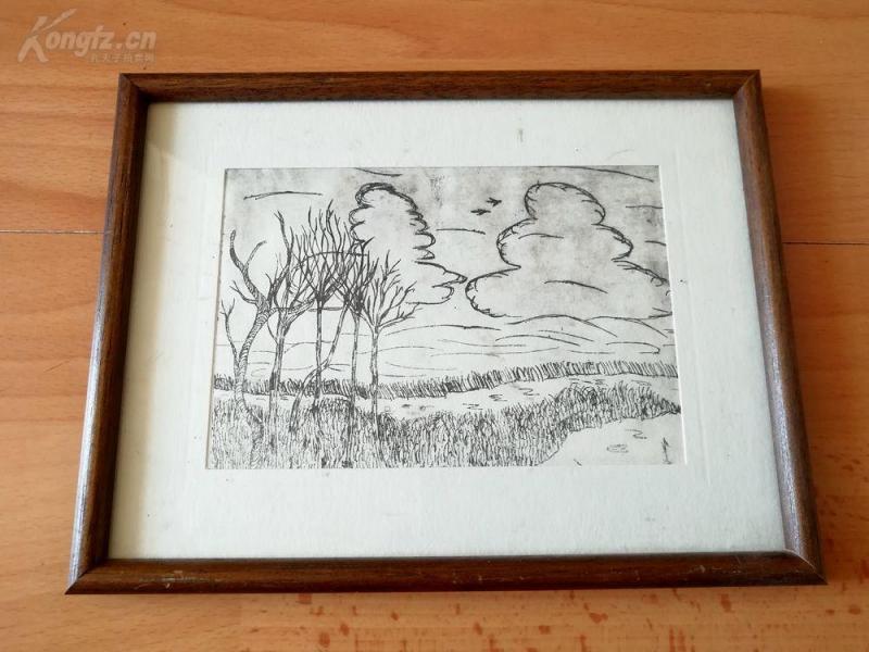 原创老蚀刻《冬日里的树和云》--原木画框21*16厘米