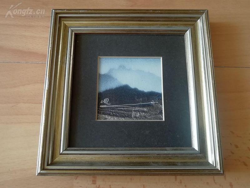 极具特色的原创银拼接画《山岩》--请欣赏--原木画框15*15厘米