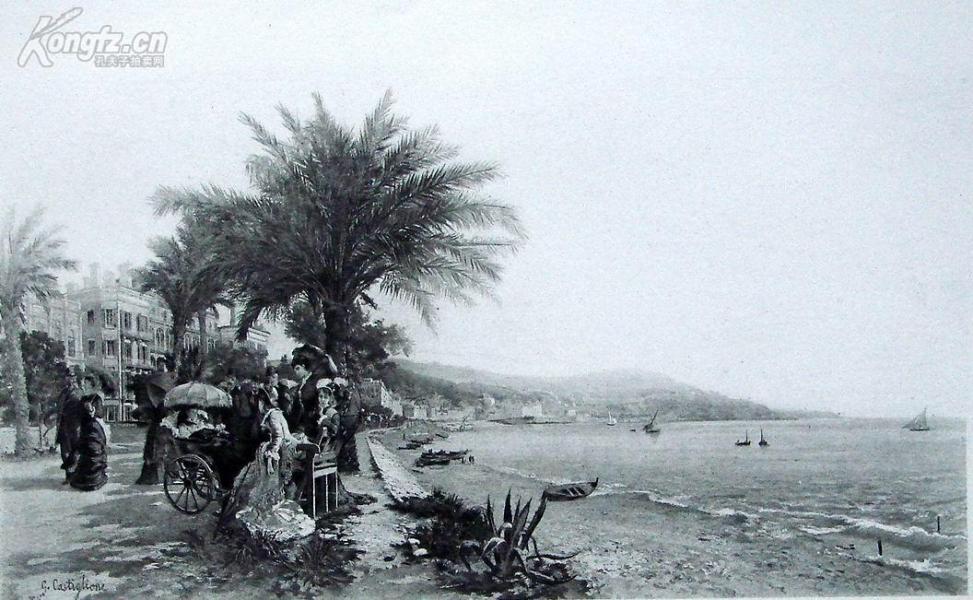 1885年法国艺术系列凹版蚀版画—《尼斯湖边散步》G.GASTIGLIONE作品 37x28cm