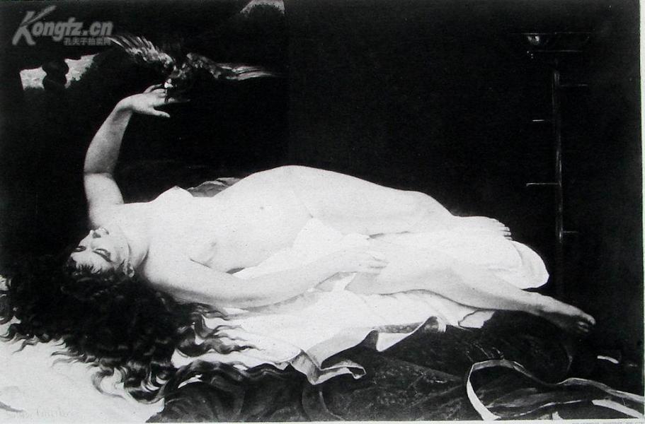 1885年法国艺术系列凹版蚀版画—《女人与鹦鹉》GUSTAVE COURBET作品 37x28cm