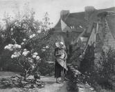 1885年法国艺术系列凹版蚀版画—《园丁》ETIENNB-PROSPER作品 37x28cm