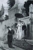 1885年法国艺术系列凹版蚀版画—《庞贝古城街道上的时髦女郎》G.R.BOULANGER作品 37x28cm