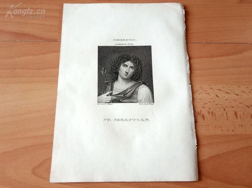 1823年铜版画《圣塞巴斯蒂安—天主教的圣徒》(St. SEBASTIAN)—出自安东尼奥·达·科雷焦作品,维也纳美景宫画廊--纸张24.4*17.5厘米
