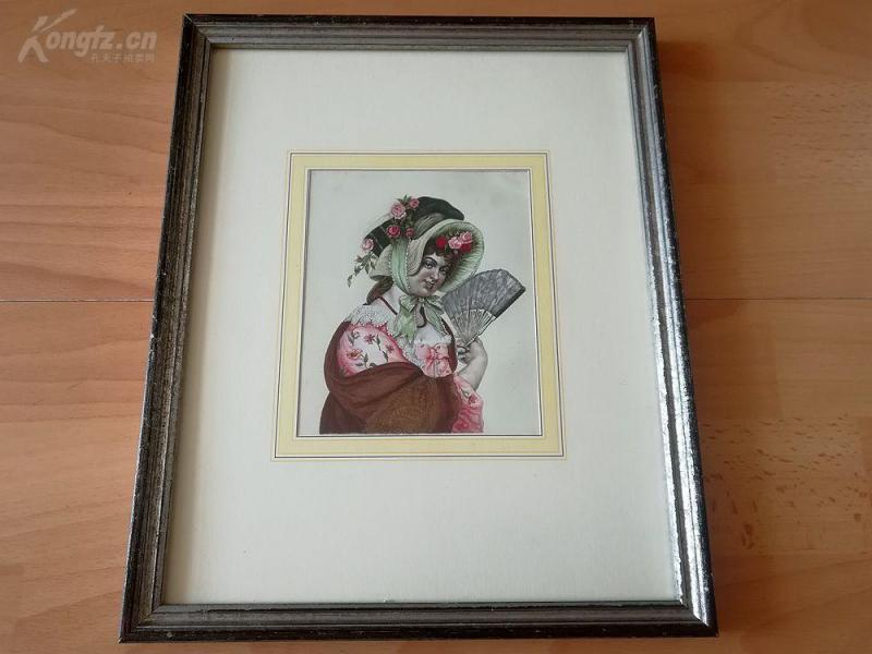 原创蚀刻+手绘《盛装女郎》--原木老画框32*26厘米