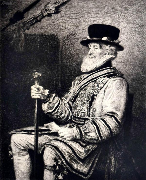 """""""大英博物馆藏画""""1878年法国蚀刻铜版画《皇家卫士》—英国皇家艺术科学院院长""""约翰·埃弗里特·米莱斯(John Everett Millais,1829-1896年)""""作品 版画家:Charles Waltner雕刻 法国ARCHES版画专用水印纸 43x30cm """"1878年世博会参展作品"""""""