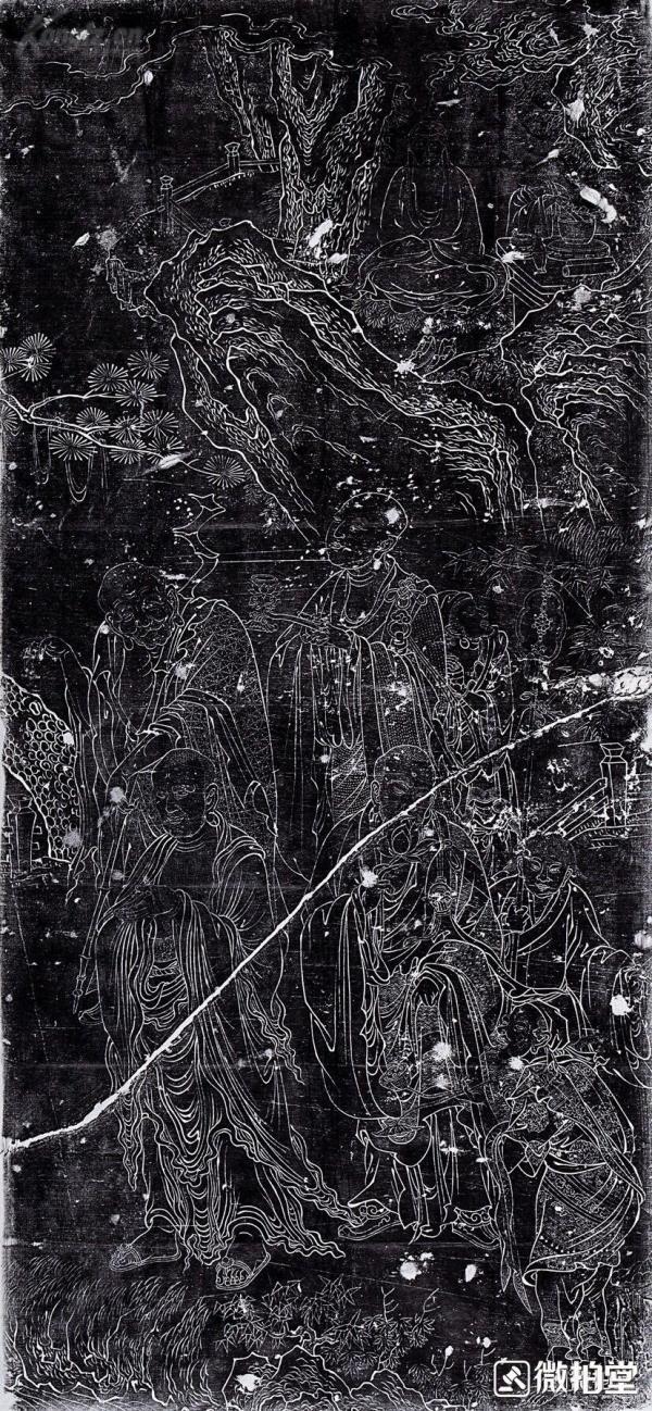 明十八罗汉线刻拓片馆藏原碑原拓,两张,图一图二区分,其他为细图