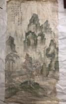 明代苏州著名画家   文征明侄子   文伯仁  绢画一张。88×43公分   青绿山水非常漂亮。