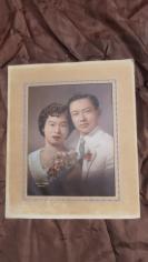 民国手工上彩结婚照老照片一张大尺寸19100708