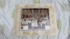 1971年教堂西式两大家族众亲友集体婚礼老照片一张19100705长35.5*宽28(cm).