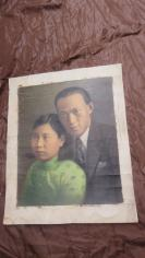 民国油画夫妻结婚照一大张,有收藏意义,市场上少见,大张(长61.5*宽50(cm).  19100718