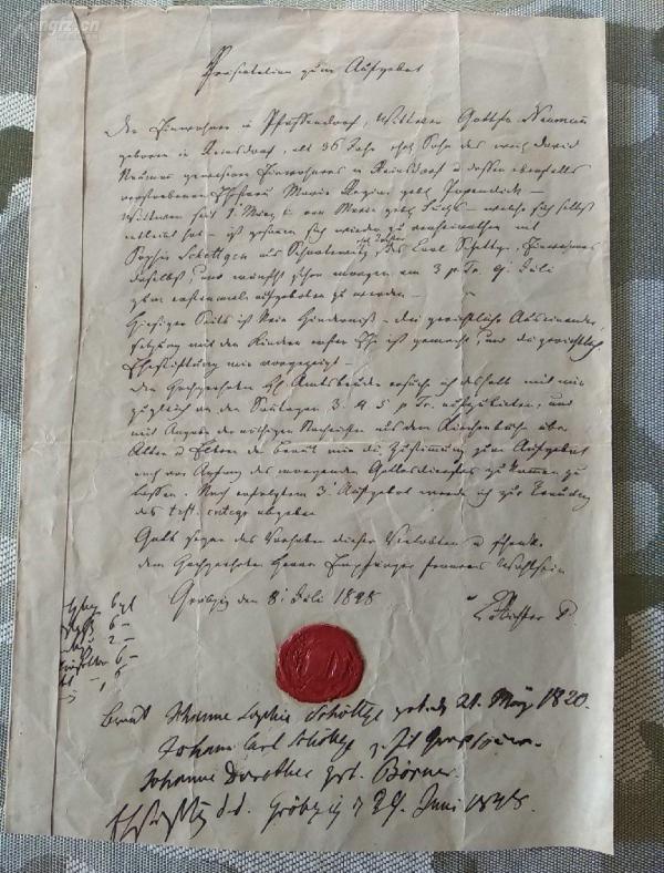 1848年德国的带火漆印章手写原始官方文件一份!保真!少见!