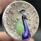 低价立体浮雕纪念币兰孔雀银币凹面浮雕异形币库克群岛金银币彩绘动物币